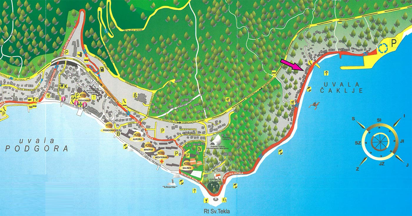 Karta - Podgora i uvala Čaklje